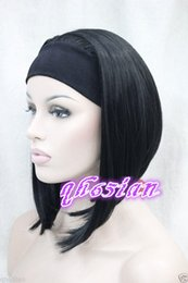 $enCountryForm.capitalKeyWord Canada - Free shipping Brand New High Quality Fashion Picture full lace wigs>>Ladies Cute Short BOB 3 4 wig with headband 5 color straight cosplay wi