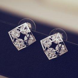 Luxury Jewelry For Sale Canada - Hot Sale Unique Irregular geometry Luxury Earrings for Fashion Women Fine Jewelry Vintage Hollow Out Zircon Stud Earrings Accessories