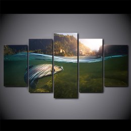 $enCountryForm.capitalKeyWord NZ - 5 Pcs Set HD Printed Fishing In River Hooked Wall Poster Picture Canvas Modern Framed Painting For Kid Room Wall