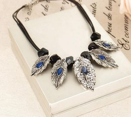 $enCountryForm.capitalKeyWord Canada - Multi Layer Leaves Crystal Leaves Statement Necklace Leaf Pendant Crystal Leather Rope Chain Chocker Necklace Jewelry DHL