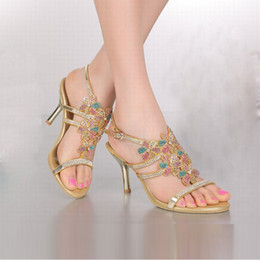 3716cab177bc3 fashion hot 2016 new arrival bling bling rhinestone flower high heels  sandals colorful crystal women gold peep toe shoes plus size 34-44