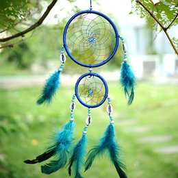 $enCountryForm.capitalKeyWord Canada - India Style Handmade Blue Dream Catcher Circular Net With feather Hanging Decoration Decor Ornament Party Gift