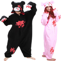 Costumes D'ours Noir Adultes Pas Cher-DHL pas cher Pijamas Black Pink Gloomy Polar Bear Réchauffez Fleece Japan Anime Mode Onesie Pyjama animaux Costumes Cosplay adultes Garment Jumpsuit