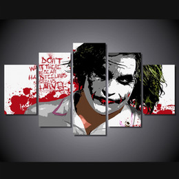 $enCountryForm.capitalKeyWord Australia - 5 Pcs Set Framed Printed the joker digital art Painting on canvas room decoration print poster picture canvas Free shipping ny-4164