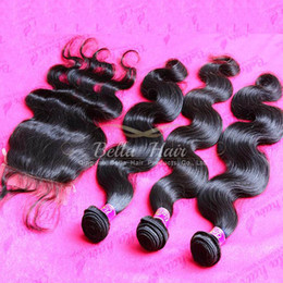 Wholesale Brazilian Body Wave Bundle Hair With Silk Base Weaves Closure Unprocessed Virgin Human Hair Extensions Bellahair A