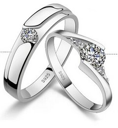 Online Shopping 925 Sterling Silver Diamond Rings For Couple Wedding Ring Gift Good Quality Best Selling