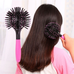 Hot Pink Hair Combs Canada - 2016 hot sale 3D Curl Hair Brush Ball Styling Spherical Massage Comb Detangling Heat Resistant Hair Comb