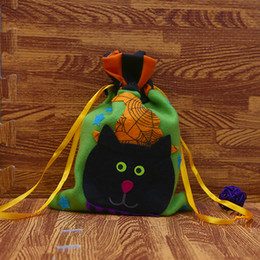 Discount gift bags dhl shipping - Wholesale DHL Fast Shipping Halloween Cute Animal Pumpkin decorations DIY Multi-colors cloth bags gift bag brushed pumpk