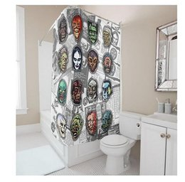 Shower Curtain Diy Canada - Customs 36 48 60 66 72 (W) x 72 Inch (H) Skulls Face Design Waterproof Polyester Fabric Shower Curtain Bathroom DIY Shower Curtain
