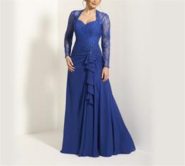 Cariño Mangas largas Apliques Royal Blue Chiffon Vestido de la madre de la novia Volantes Frente Keyhole Volver A-line Vestidos de sirvienta