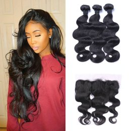 Discount silk frontal bundles - Malaysian Body Wave Straight Silk Base Frontal Closure With 3 Bundles 100% Human Hair Extensions Natural Black G-EASY