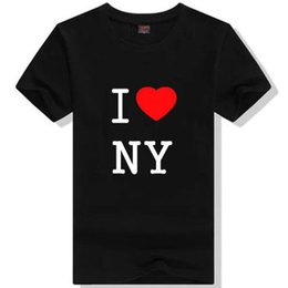 47980bbf22a1 I love NY T shirt New York people short sleeve gown Cool word tees Leisure  printing clothing Unisex cotton Tshirt