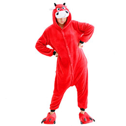 China Unisex Winter All In One Pajama Animal Suits Women Cosplay Garment Cartoon Red Cow Pyjamas Set Flannel Hooded Sleepwear supplier cosplay cow suppliers
