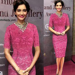 2016 Autumn Half-sleeved Lace Pencil Dress Color sólido Pink Princess European Venta caliente One-step Slim Bodycon Dress