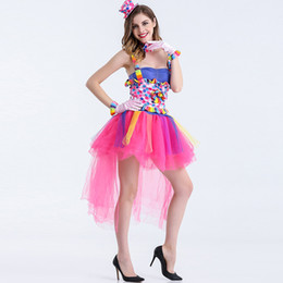 Costume Sexy De Tutu Halloween Pas Cher-Sexy Femme Cirque Fille Clown Cosplay Costumes Halloween Fantaisie Bonbons Couleurs Tutu Bretelles Cosplay Carnaval Cirque Clown Tenues W880293