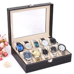 $enCountryForm.capitalKeyWord Canada - New Luxury 10 Grid Leather Watch Box Jewelry Display Collection Storage Case Watch Organizer Box Holder reloj caixa relogios