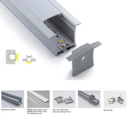 led linear tube UK - 100 X 1M sets lot Linear flange aluminum led channel and T shape led alu extrusion for ceiling or recessed wall lamps