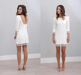 Sexy beach wedding reception dreSS online shopping - Simple Elegant Short Mini Sheath Fitted Wedding Dresses With Long Sleeves Sexy Low Back Beach Casual Reception Bridal Gowns BA6951