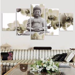 Large Buddha Canvas Prints NZ - UnFramed 5 Panel Large orchid background Buddha Painting Fengshui Canvas Art Wall Pictures for Living Room Home Decor Fx015