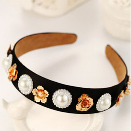 Lusso barocco retrò corona piena di strass perla fasce per capelli fatti a mano di cristallo velluto ampia fascia per capelli da sposa gioielli regali donna in Offerta