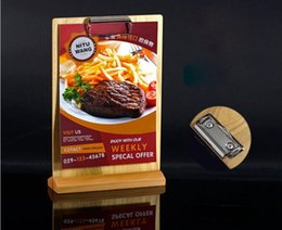 wholesale menu holders Australia - Restaurant Retro wooden Price Tag Display Stand Tabel Sign menu list snap holder rack
