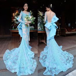 Barato Trem Grande Arco-Big Bow Backless Long Sleeve Prom Dresses Blue Court Train Sexy Full Applique Vestidos de noite Sheer Jewel Neck Mermaid Vestidos Festa