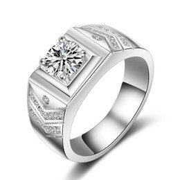 pave diamond white gold 2018 - 1.25CT White Gold plated big white stone Rings For Men CZ diamond jewelry engagement wedding women rings bijoux bague ch