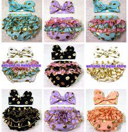 Girls ruffle underwear online shopping - 2016 girls gold polka dot shorts baby bloomers headbands pc set childrens ruffled shorts kids cotton underwear girls boutique short pants