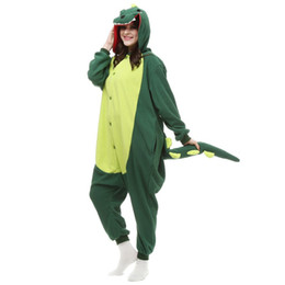 ingrosso pigiama in pile di un pezzo -Well Made Unisex Cosplay Dinosaur verde Inverno Fleece Casual con cappuccio One Piece Cute Cartoon Animal Tutina Pigiama per adulti tuta