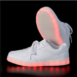 Discount neon shoes for women 2017 women light up led luminous shoes color glowing casual fashion with new simulation sole charge for men adults neon basket