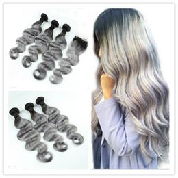 $enCountryForm.capitalKeyWord Canada - Peruvian #1B Grey Ombre Hair Weave With 4*4 Lace Closure 3Pcs Wavy Dark Root Silver Grey Virgin Hair With Lace Closure 4Pcs Lot