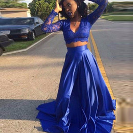$enCountryForm.capitalKeyWord Canada - Royal Blue Lace Long Sleeve Evening Dresses Two Pieces A-Line Satin Evening Gowns For Black Girls Sexy V-Neck Women African Prom Gowns 2019