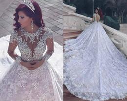 Line pnina tornai wedding dress online shopping - 2017 New Pnina Tornai Wedding Dresses Dubai Arab Vintage Long Sleeve Bling Crystals Wedding Gowns Sequins Tulle Court Train Bridal Dress