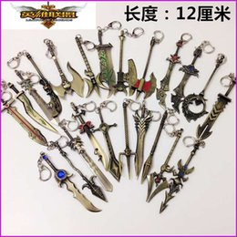 Lol Keychain Weapons Canada - Heroes Alliance Zinc Alloy keychains Ring LOL The Glorious Executioner Draven Keychains Weapon Metal Keychain key holder keyring