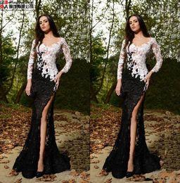 Discount salamoun dresses - 2017 Rami Salamoun See Through Lace White And Black Mermaid Evening Dresses Long Sleeves Front Split Beaded Formal Eveni