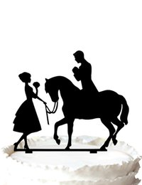 $enCountryForm.capitalKeyWord Canada - Wedding cake topper silhouette-Bride holding flower and groom on the horse cake decoration,37 color for option Free Shipping
