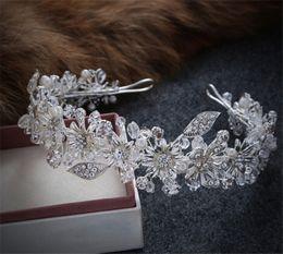 Hair Accessories Headdress Flower Tiara Canada - Vintage Wedding Rhinestone Headband Bridal Crystal Crown Tiara Hair Accessories Headpiece Band Silver Flower Headdress Pearl Princess Band