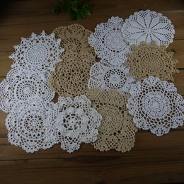 "White Cotton Napkins Australia - lot of 12 Hand Crochet Doily,4 Beige, 8 White, 7""-8""-9"" RD for ornament Mat Pad Table Napkin Vintage Home Wedding"
