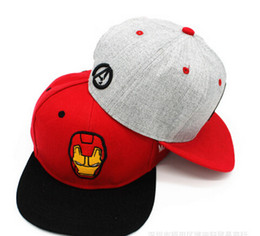 Wholesale- Iron Man cartoon cotton cap baseball cap hat hip hop cap flat-brimmed  hat snapback cap hats for men and women f5fab2fcb2cb