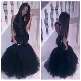Adelgazante Vestido Barato Baratos-2017 Sexy Slim Black Girl Mermaid Africano Prom Dresses más de tamaño Long Sequined Keyhole Volver formal vestidos de fiesta Partido Homecoming Dress