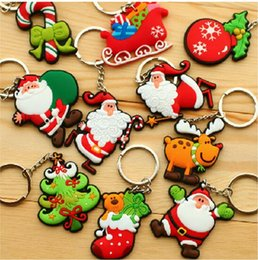 Short chain deSignS online shopping - Cartoon mixed designs cm Santa Claus key chains Christmas gift soft pvc keychain KIDS TOYS Christmas tree ornaments