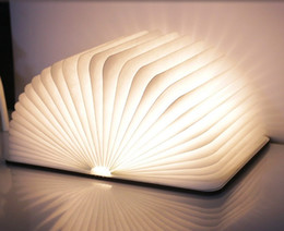 Folding Art Table Canada - LED Night Light Folding Book Light USB Port Rechargeable Wooden Magnet Cover Home Table Desk Ceiling Decor Lamp White WarmWhite