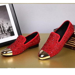 Mens Red Wedding Shoes Canada - New Arrival Fashion G Z Rhinestone Casual Shoes Red  Black gold Crystal Oxfords Mens and Womens Flat Dress Shoes Wedding Party