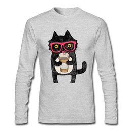 Cotton Coffee UK - New Men's Cotton Fabric Long Tee Shirt O-Neck Black Coffee Cat Men's White Black Long Sleeve T Shirts S-2XL Autumn Long Tee Shirt