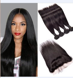 soft tangle free weave Australia - 8A High Quality Peruvian Straight Hair with one 13*4 Frontal Lace Closure No Tangle No Shedding Soft Full Free Shipping Fee DHL