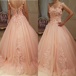 Barato Vestidos De Noiva Florais Sexy-2018 Sexy A Line Blush Prom Dress Long Vestidos formidáveis ​​da noite Evening Scoop Neck Sleeveless Open Back Corset 3D Floral Appliques Handmade Flower