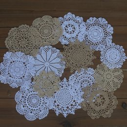 "White Cotton Napkins Australia - Lot of 14 pcs Handmade Crocheted Doilies 5""-6""-7""-8""-9"" Look chic Coasters Mat Pad White Beige Home Decor for Table Napkin"