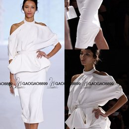 Robes À Genoux Longueur Au Genou Femmes Pas Cher-RalphRusso Printemps 2016 Couture femme Fashion Party Robes formelles Coupe haute sur l'épaule Genou Robe de Cocktail