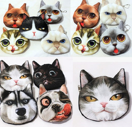 cartoon animal heads 2019 - Lovely Cat Dog Head Coin Purse 3D Character Animal Meow Star People Zipper Purses Womens Girls Midi Handbag Case Chirstm