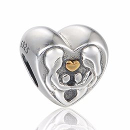 $enCountryForm.capitalKeyWord Canada - HEART OF THE FAMILY 14K HEART 100% 925 Sterling Silver Beads Fit Pandora Charms Bracelet Authentic DIY Fashion Jewelry